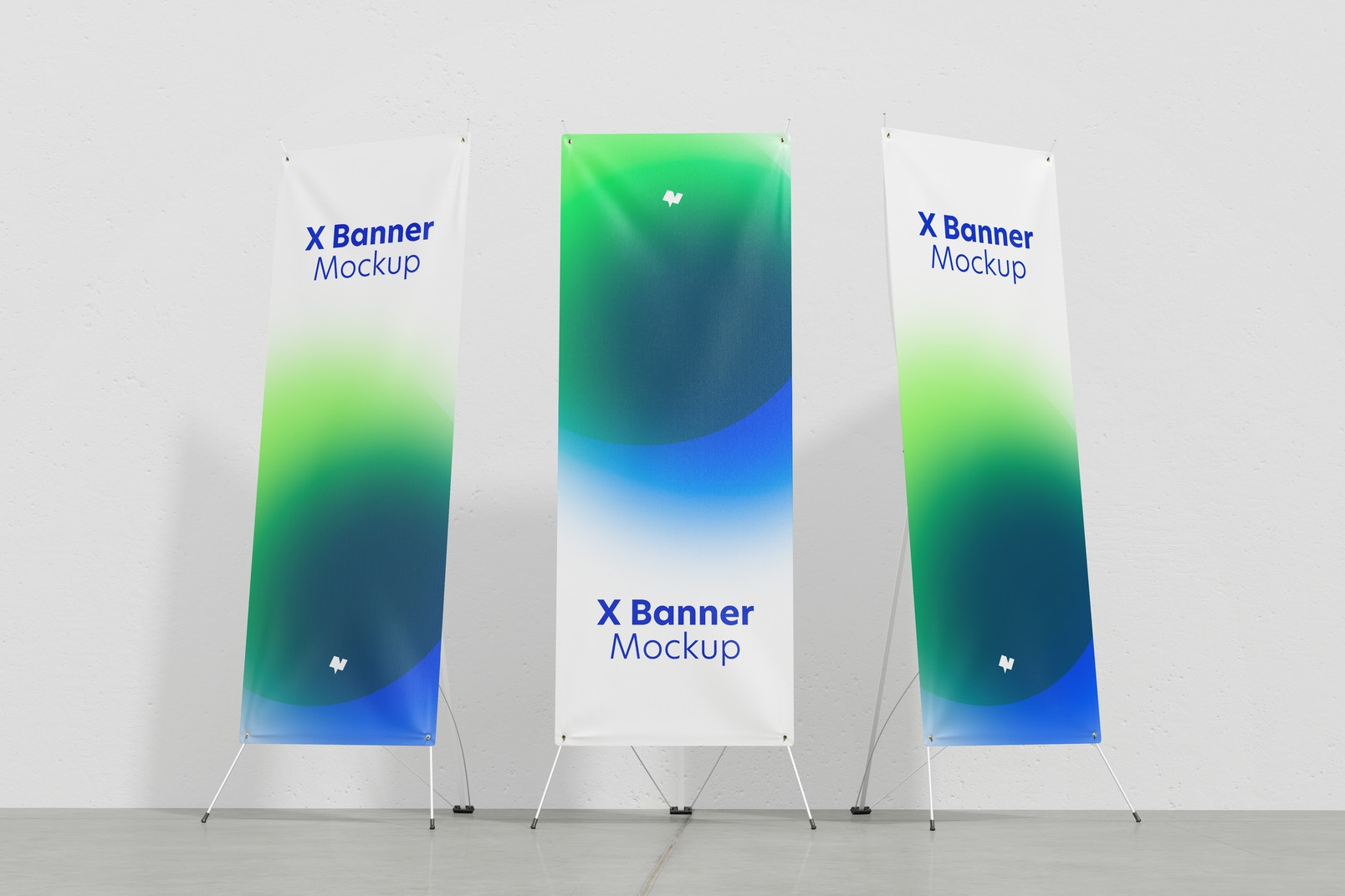 X Banner Mockup, Low Angle View