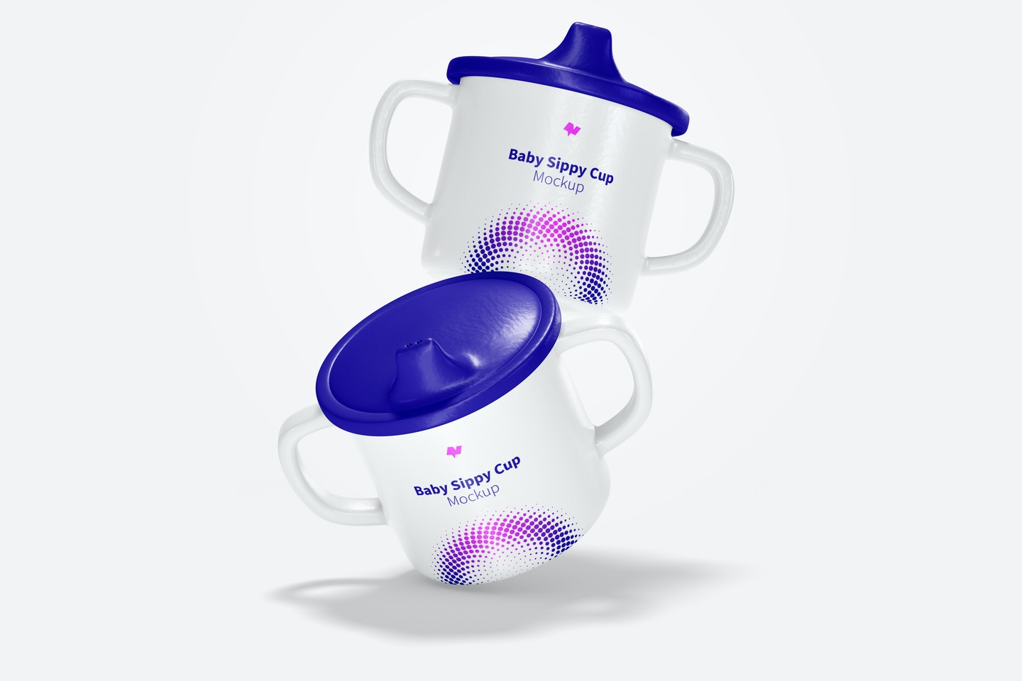 Baby Sippy Cups Mockup, Falling