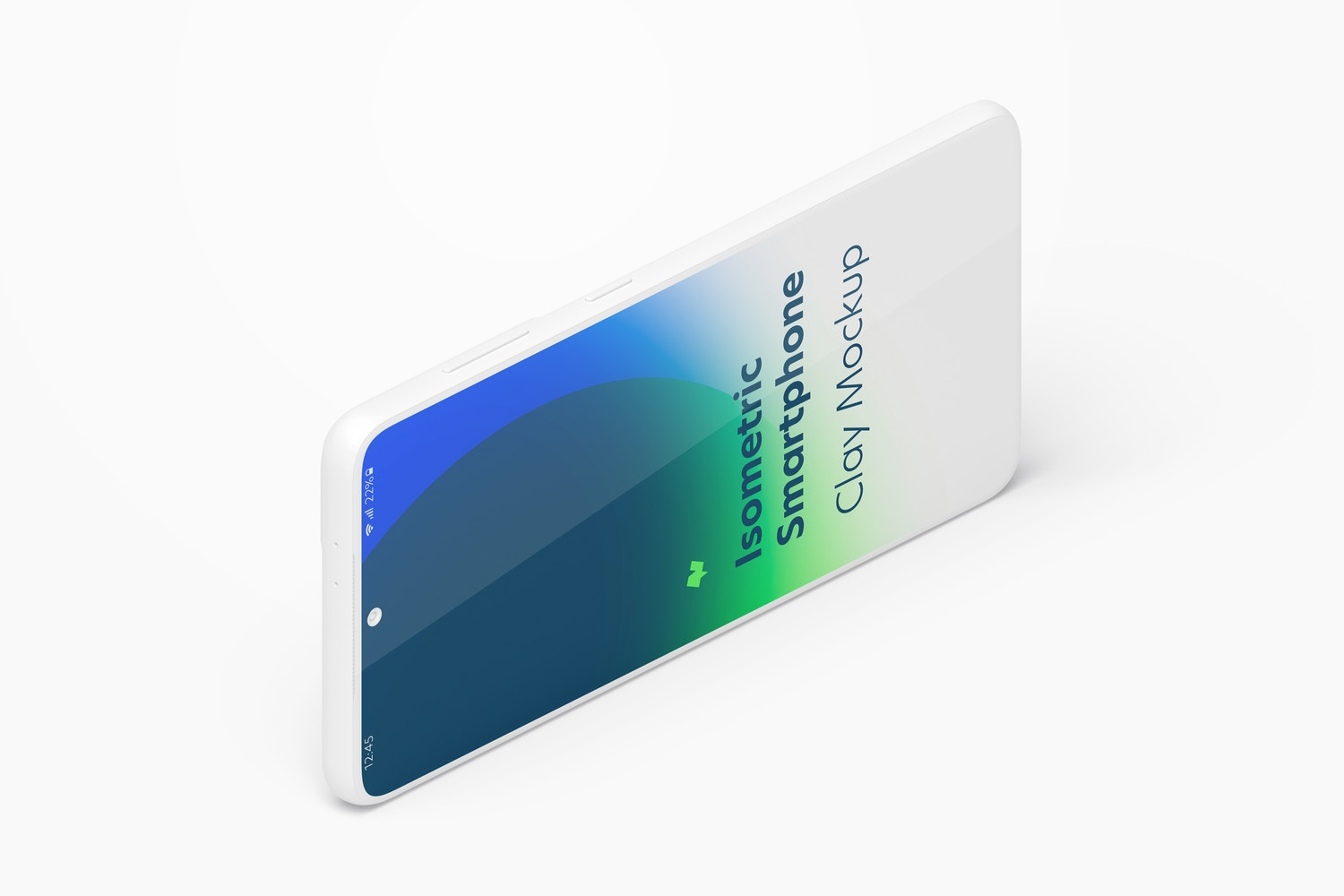 Isometric Clay Samsung S21 Mockup, Landscape Left View