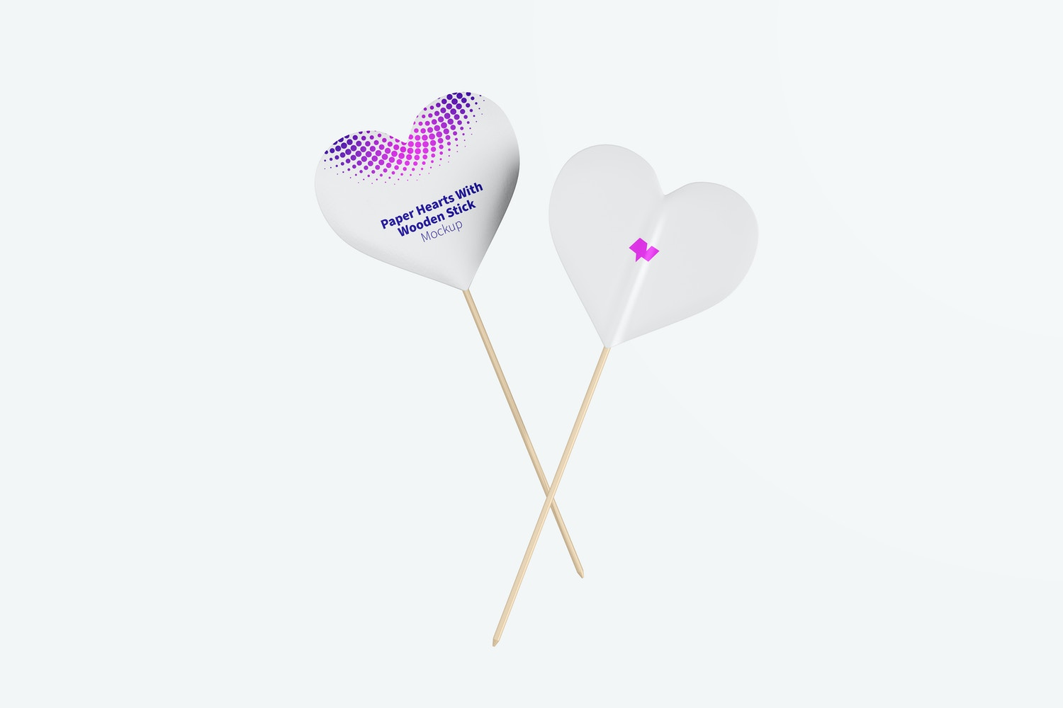 Paper Hearts With Wooden Stick Mockup, Front and Back View