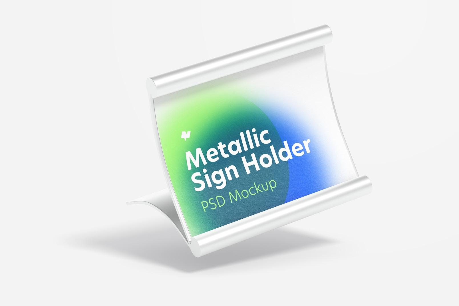 Metallic Table Sign Holder Mockup, Falling