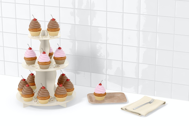 3-Tier Cardboard Cupcake Stand Mockup, Perspective