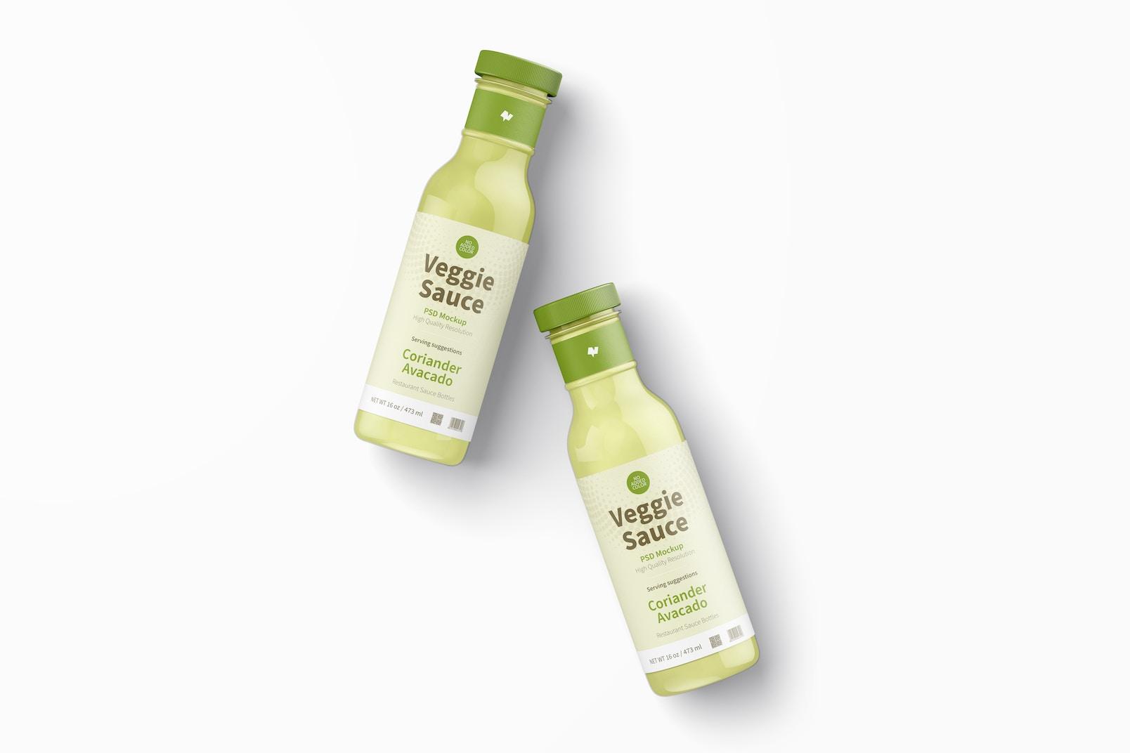 12 oz Veggie Sauce Bottle Mockup, Top View