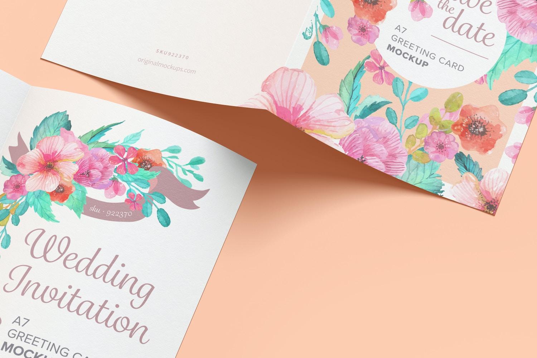 Maqueta de Tarjeta de Felicitación A7, Páginas Exteriores e Interiores Extendidas