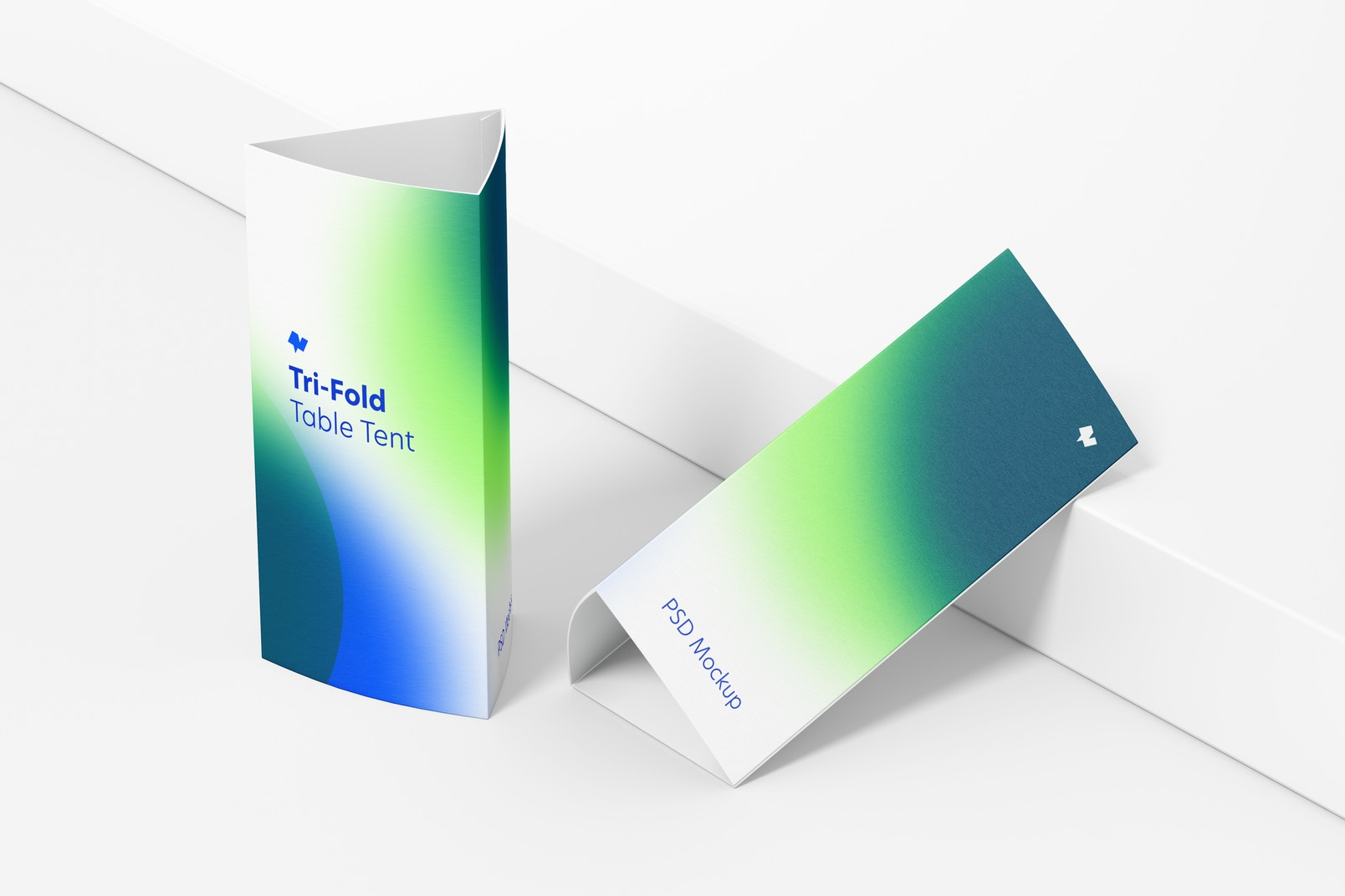 Tri-Fold Table Tents Mockup, Perspective