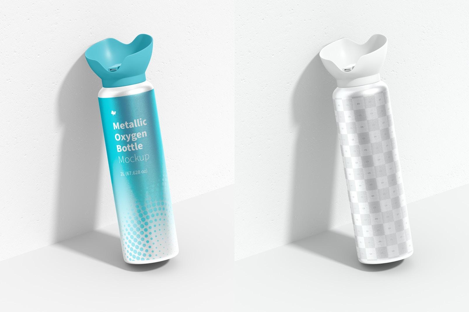 Maqueta de Botella Metálica de Oxígeno, Inclinada