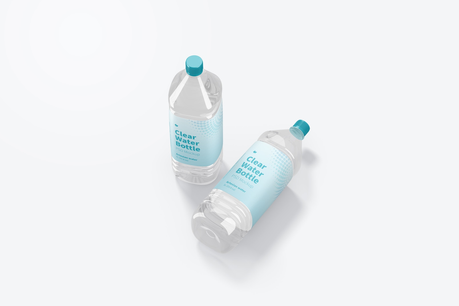 1L Clear Water Bottles Mockup, Top View