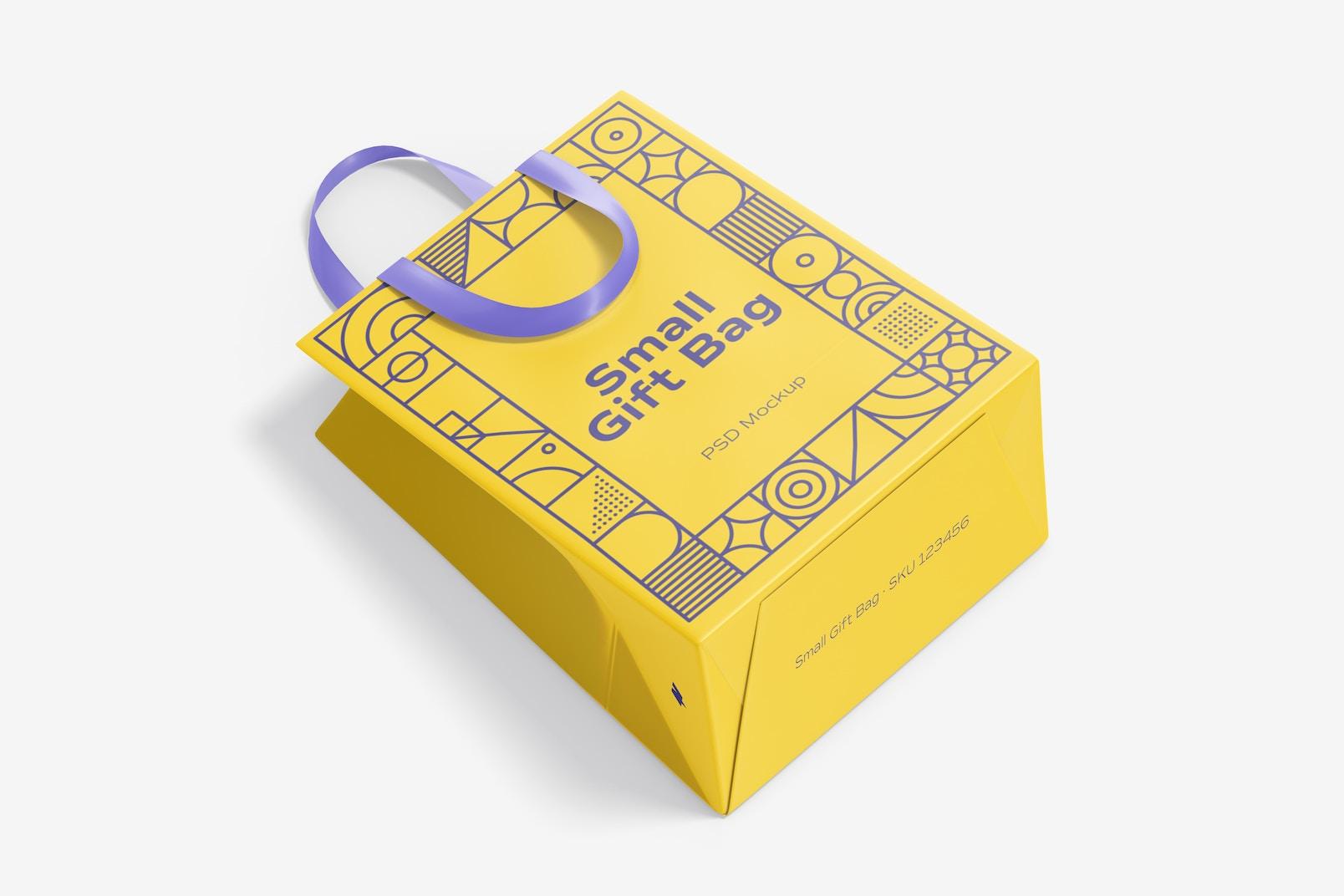 Small Gift Bag with Ribbon Handle Mockup, Top View