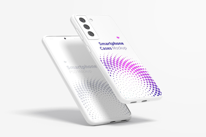 Samsung S21 Cases Mockup, Leaned