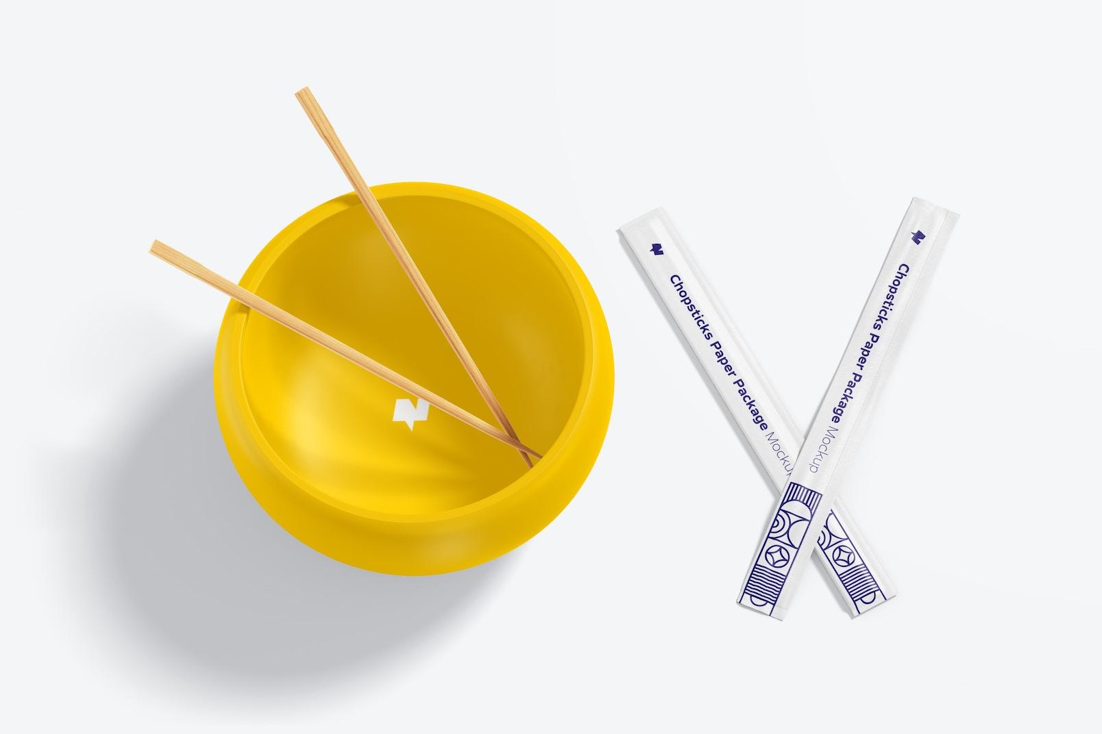 Maqueta de Palillos Chinos en Empaques de Papel con Tazón
