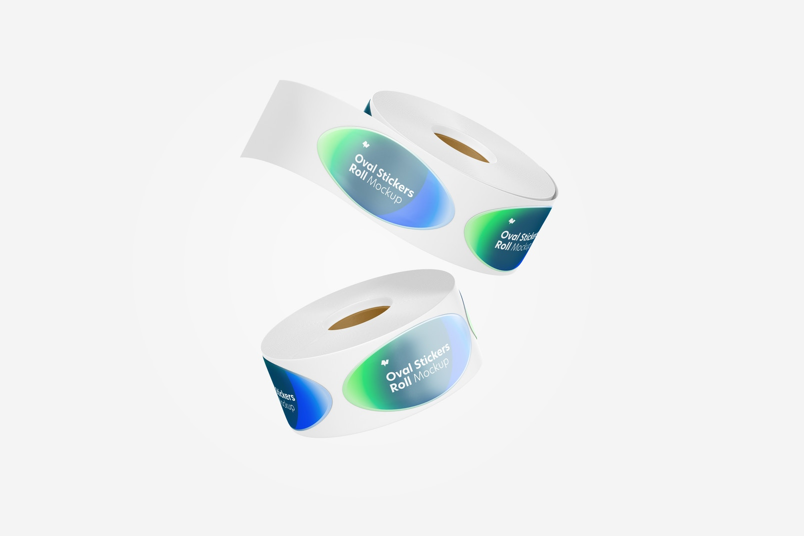 Oval Stickers Rolls Mockup, Floating