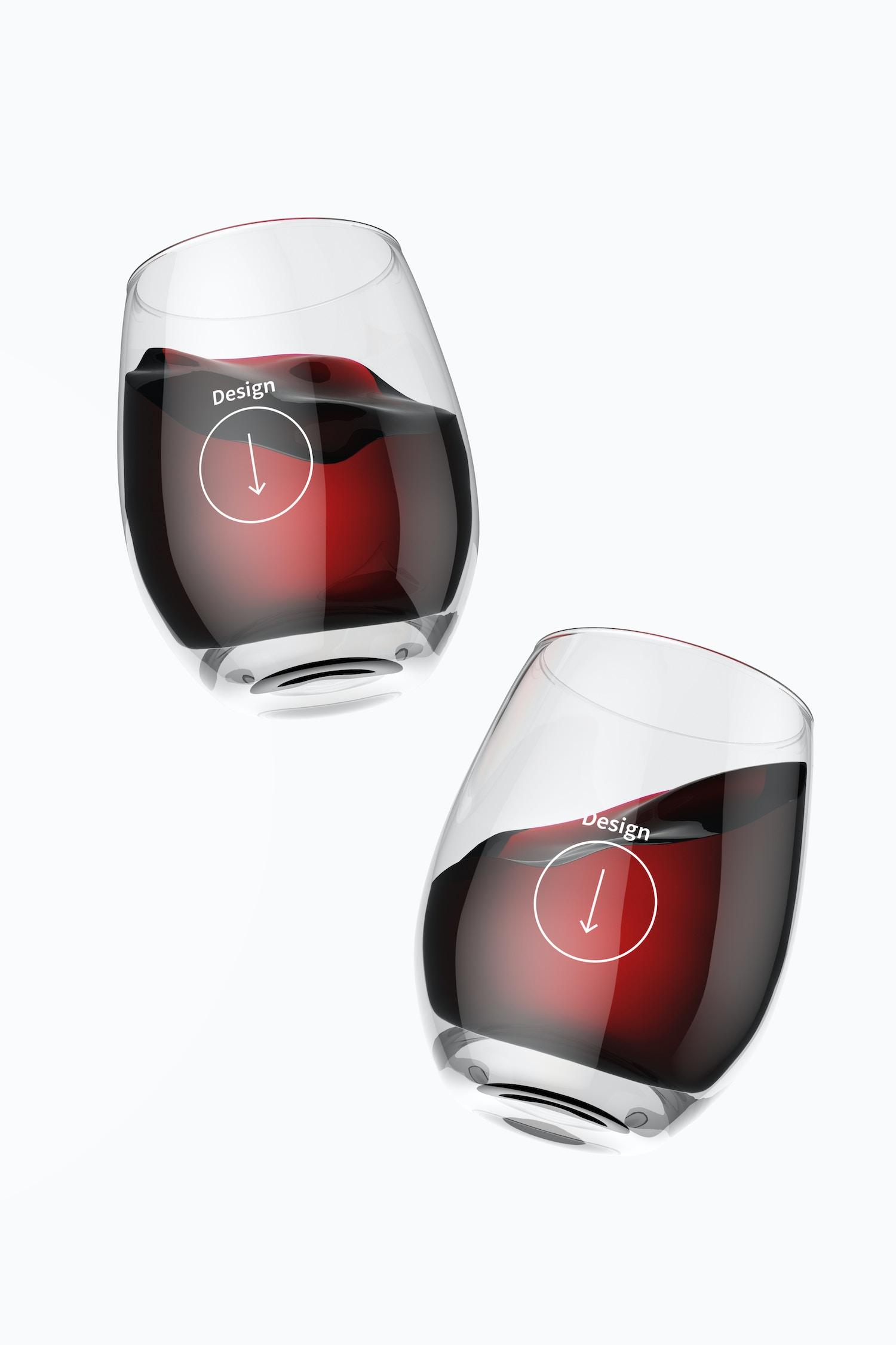 15 oz Glass Wine Cups Mockup, Floating