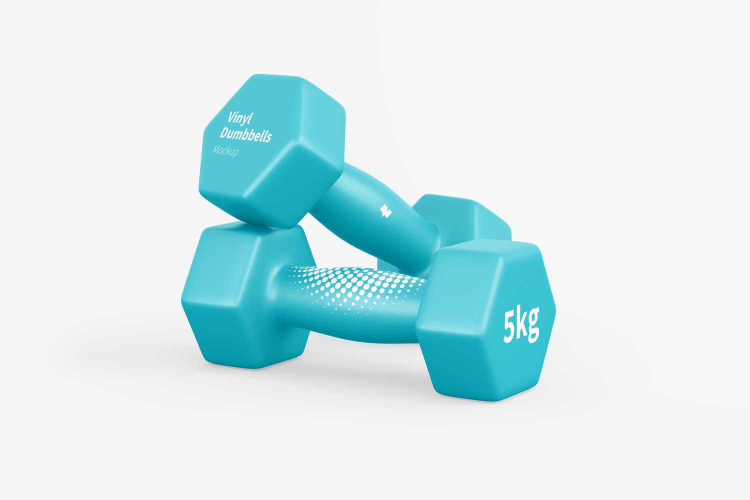 Vinyl Coated Dumbbells Mockup, Front View, Stacked