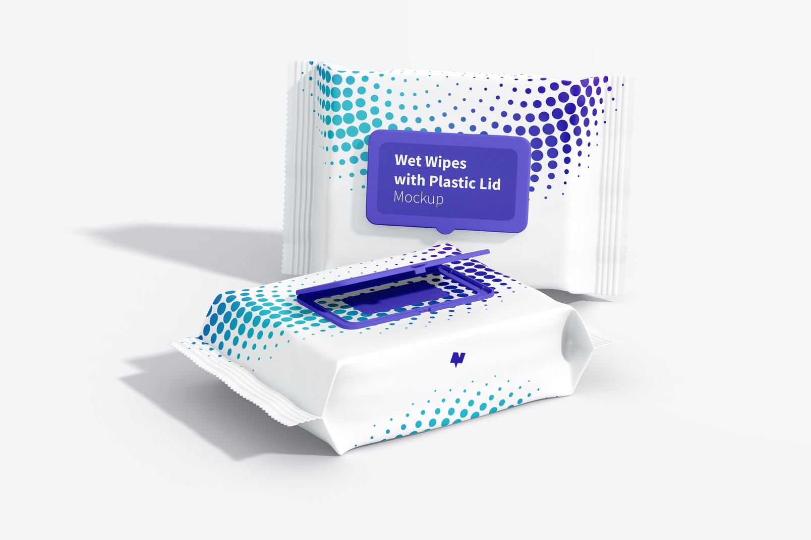 Wet Wipes Large Packaging with Plastic Lid Mockup, Perspective