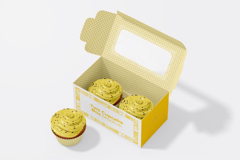 Two Cupcake Box Mockup, Opened
