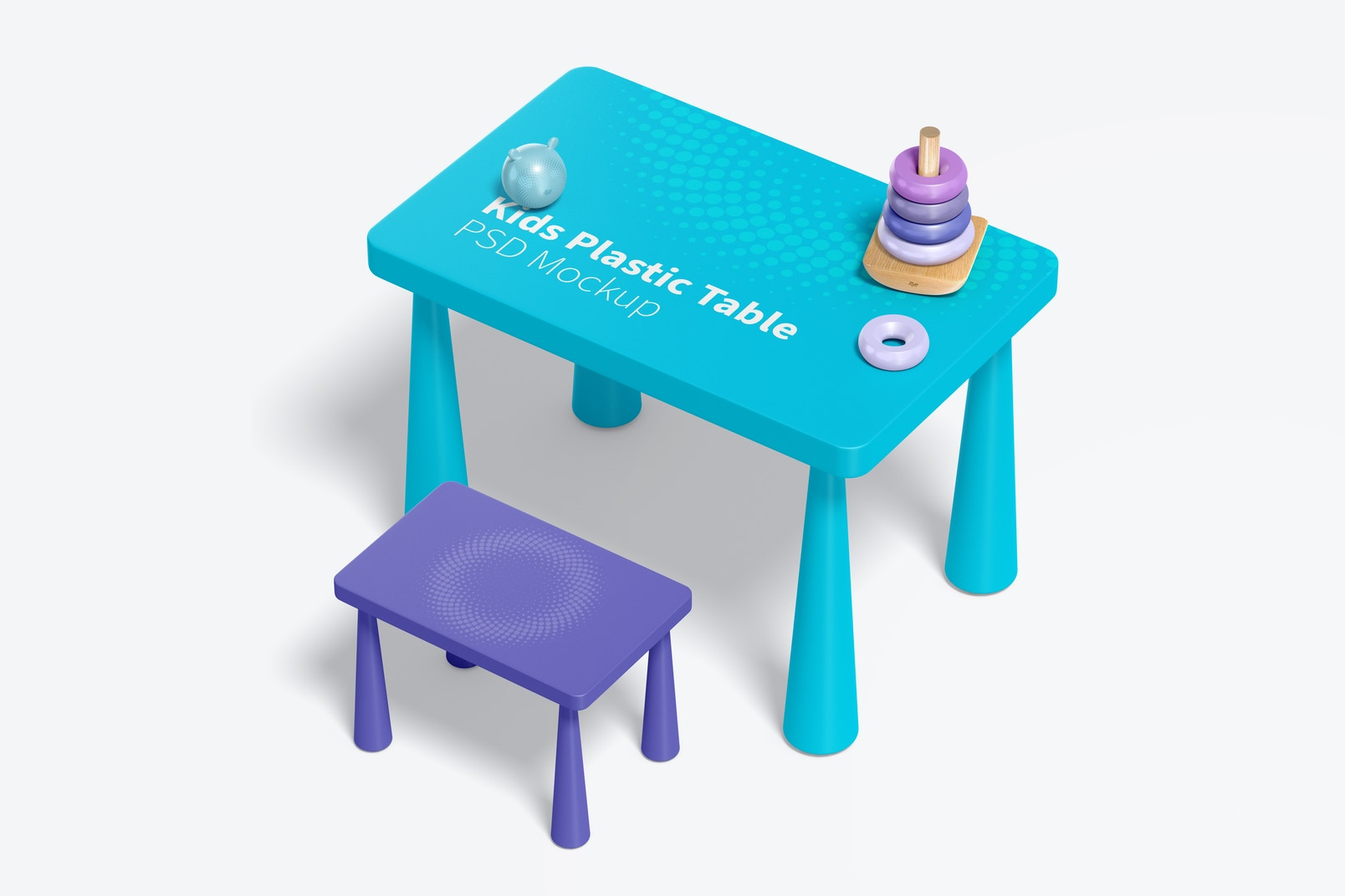 Kids Plastic Table Mockup, Right View