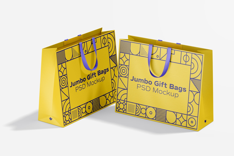 Jumbo Gift Bag with Ribbon Handle Mockup, Perspective