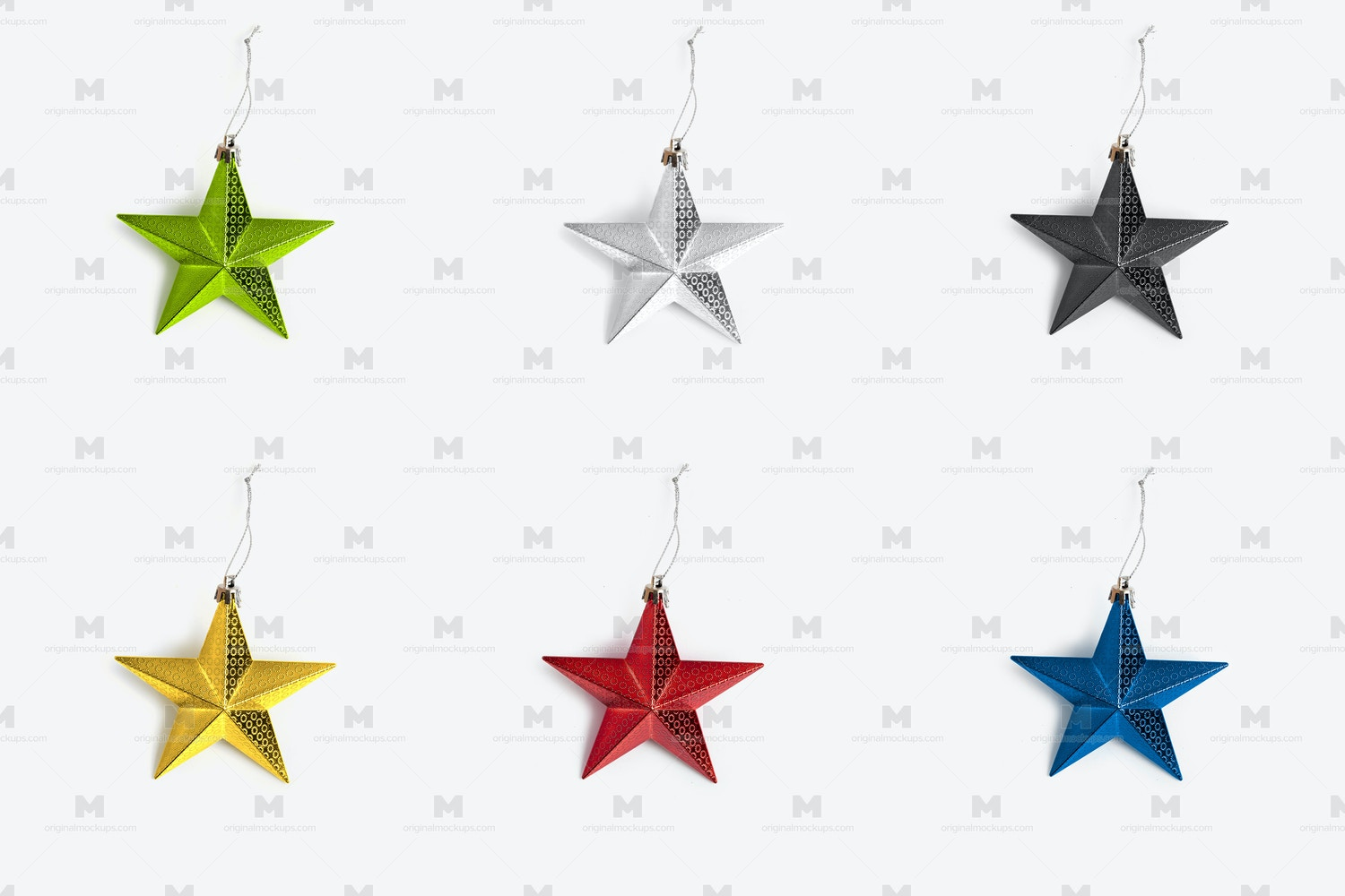 Christmas Colorful Stars Isolate 02