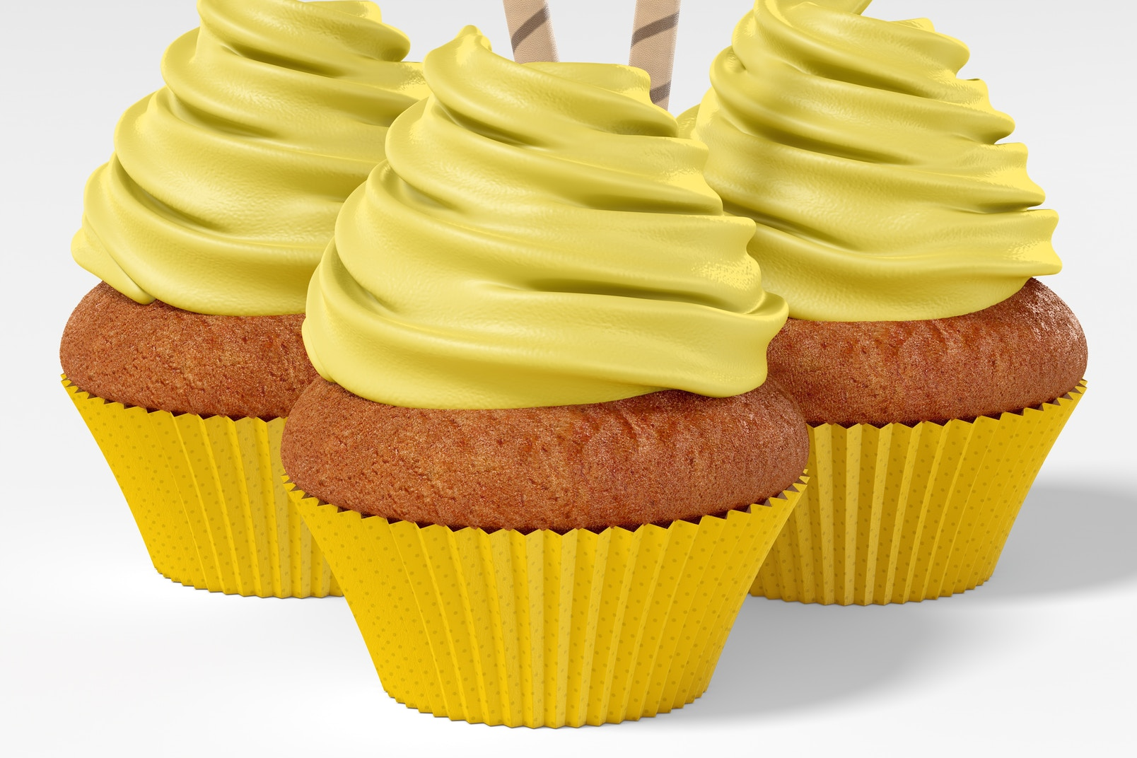 Cupcake with Paper Baking Cup Mockup, Close-Up