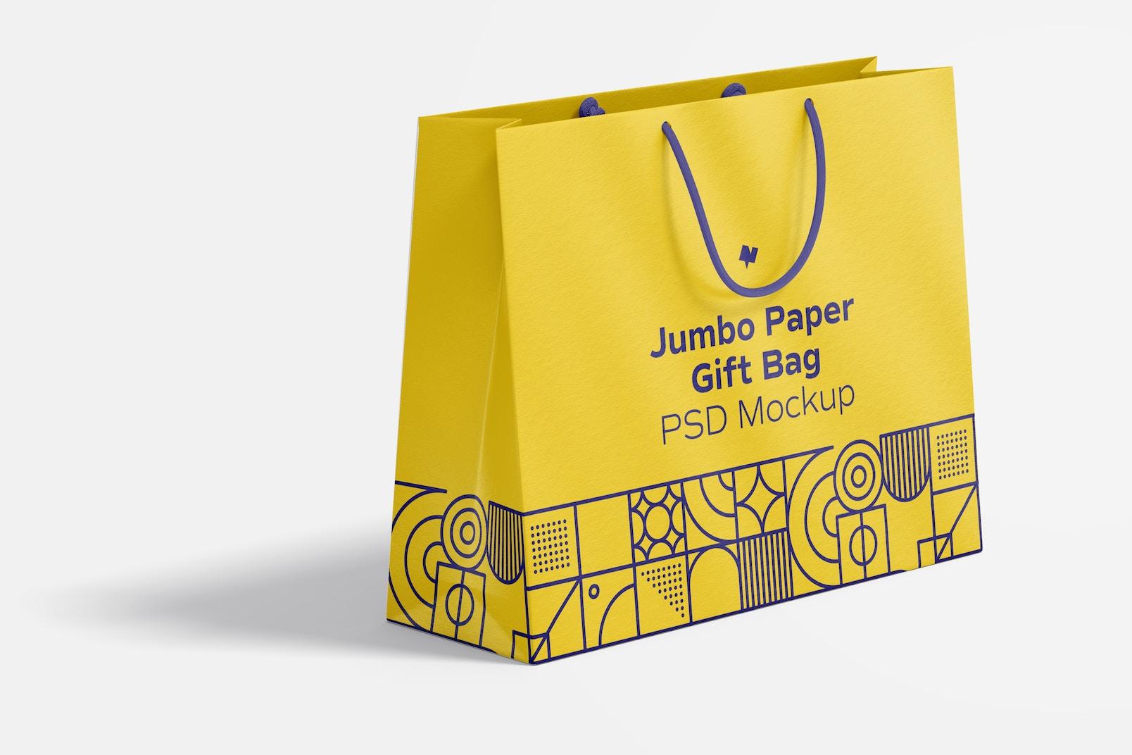 Jumbo Paper Gift Bag With Rope Handle Mockup