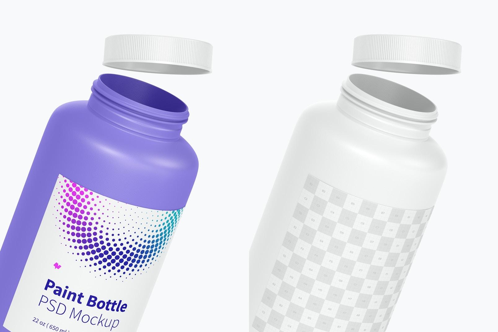 22 oz Paint Bottle Mockup, Close Up