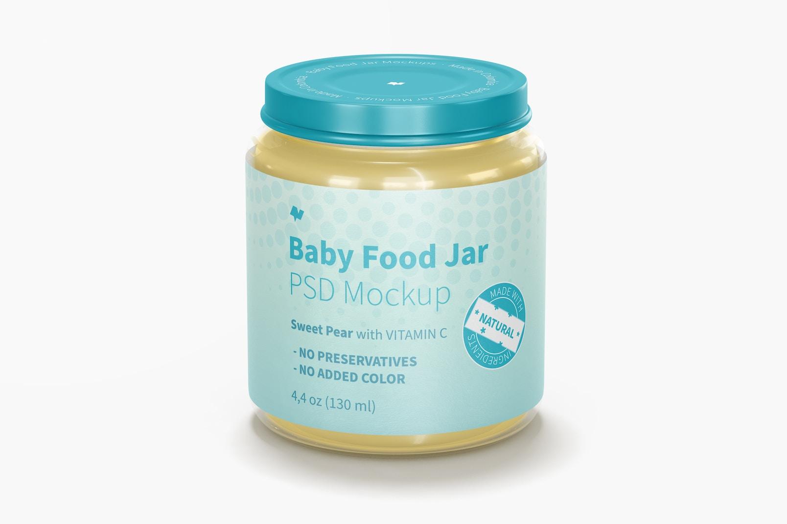 Baby Food Jar Mockup, Front View