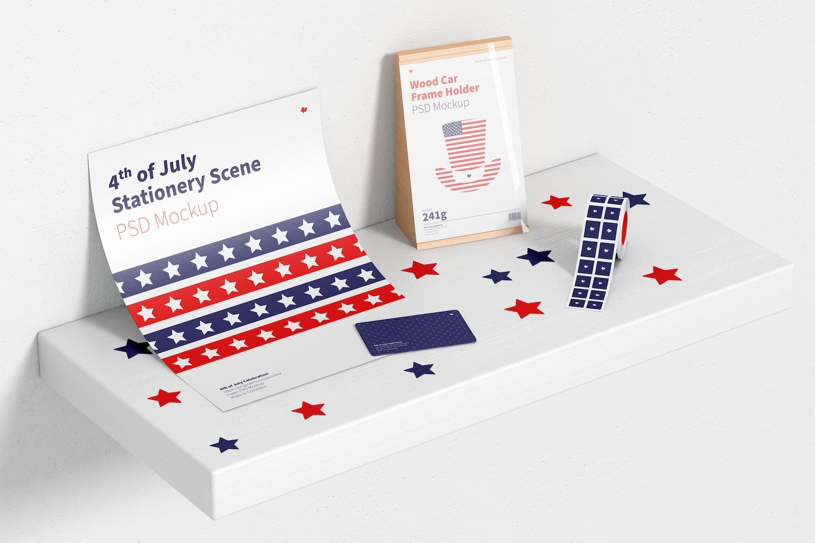 4th of July Celebration Stationery Scene Mockup