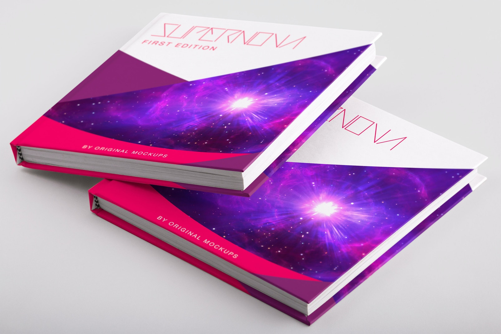 Hardcover Small Square Book PSD Mockup 03
