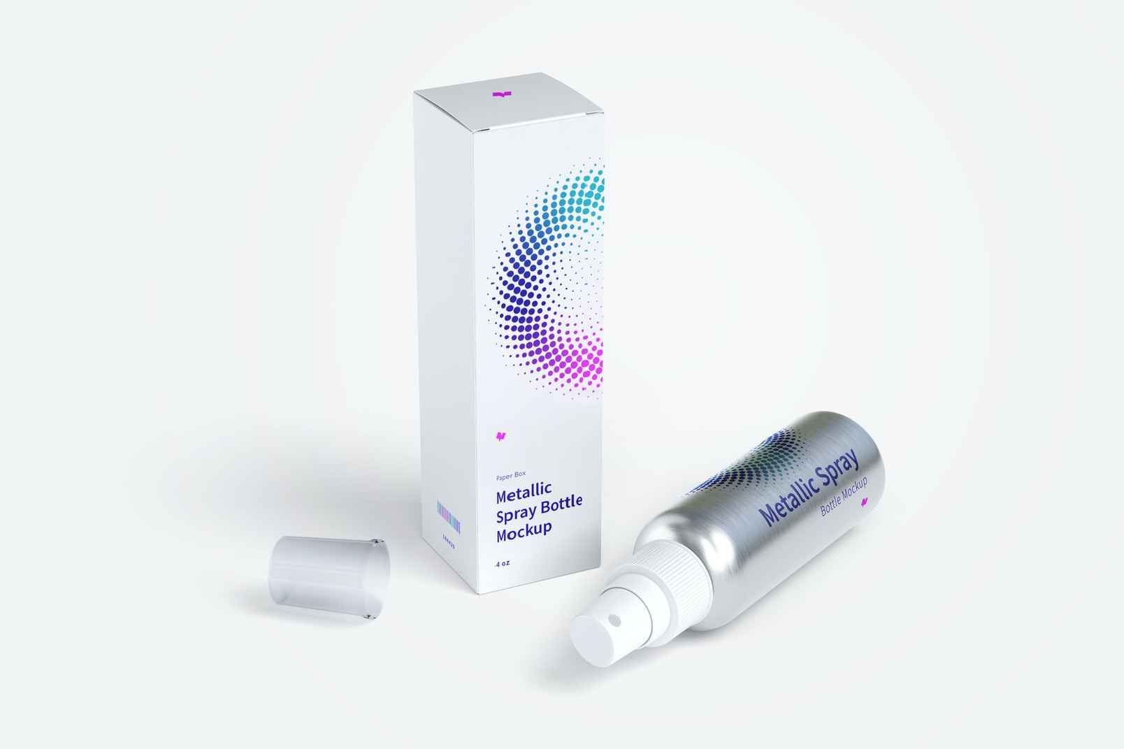 4 oz Metallic Spray Bottle Mockup with Paper Box