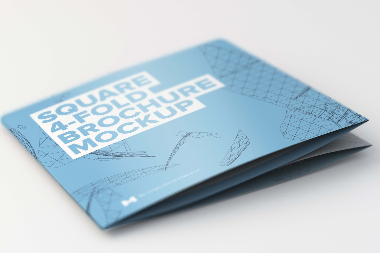 Folded Square 4-Fold Brochure Mockup