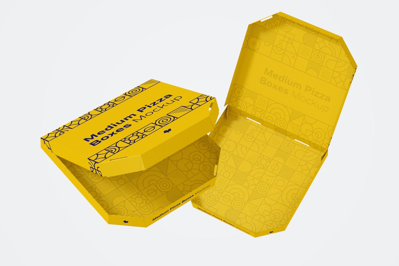 Medium Pizza Box Mockup, Floating
