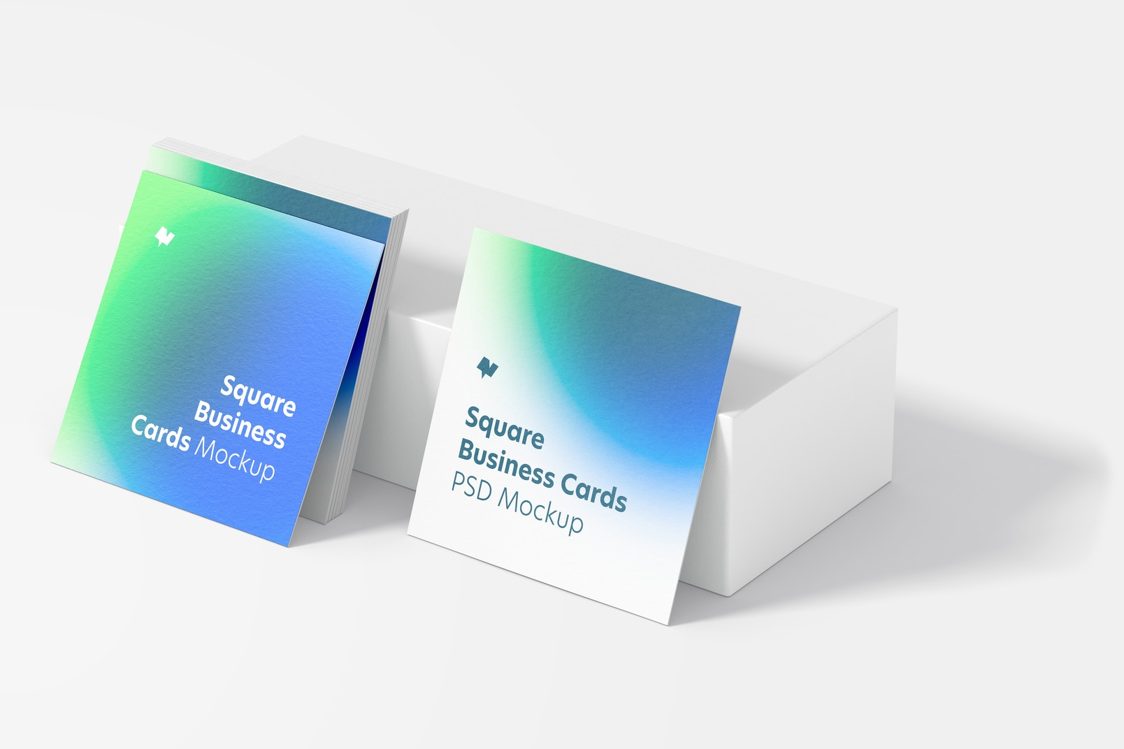 Square Business Cards Mockup, Perspective View