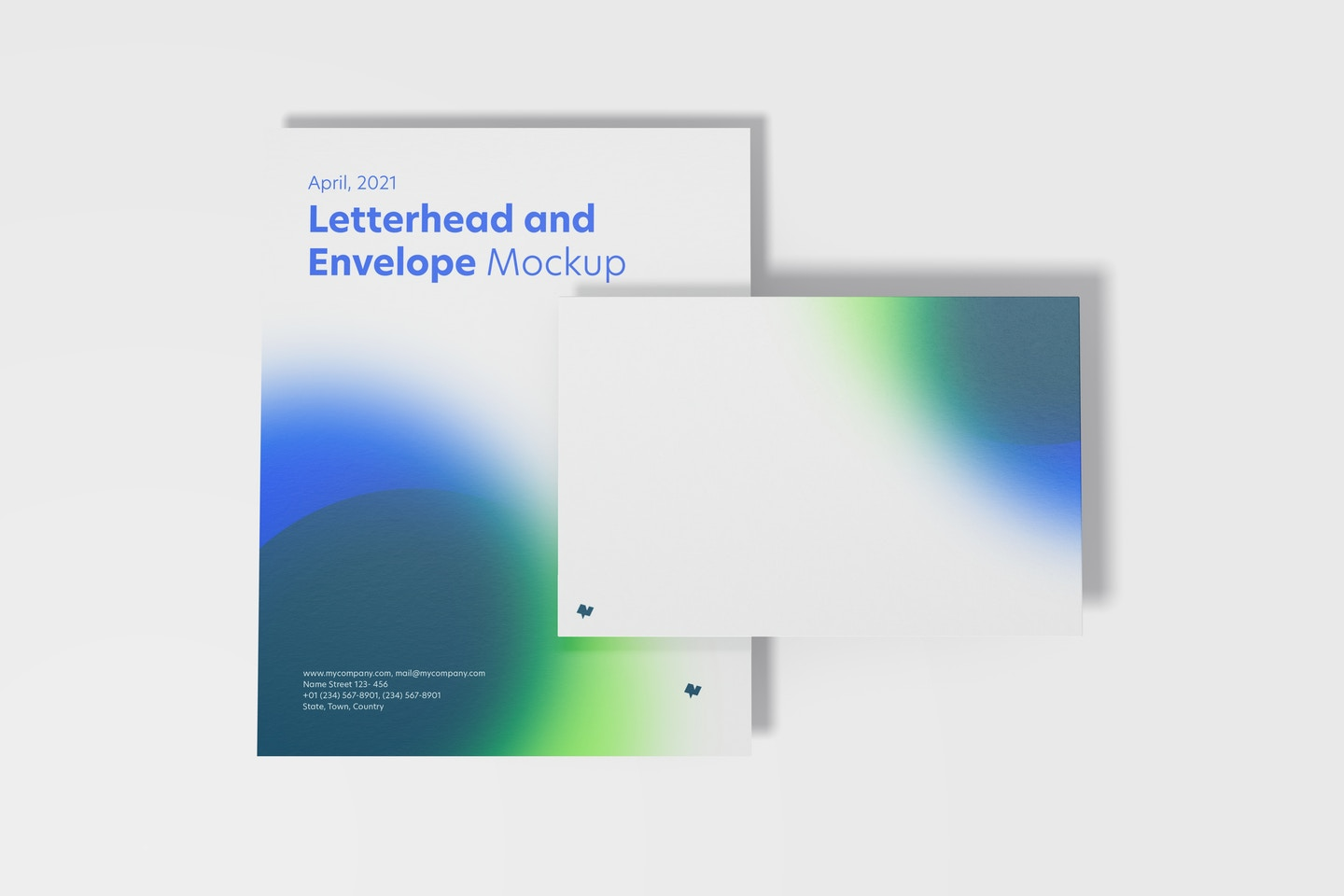 Letterhead and Envelope Mockup, Top View