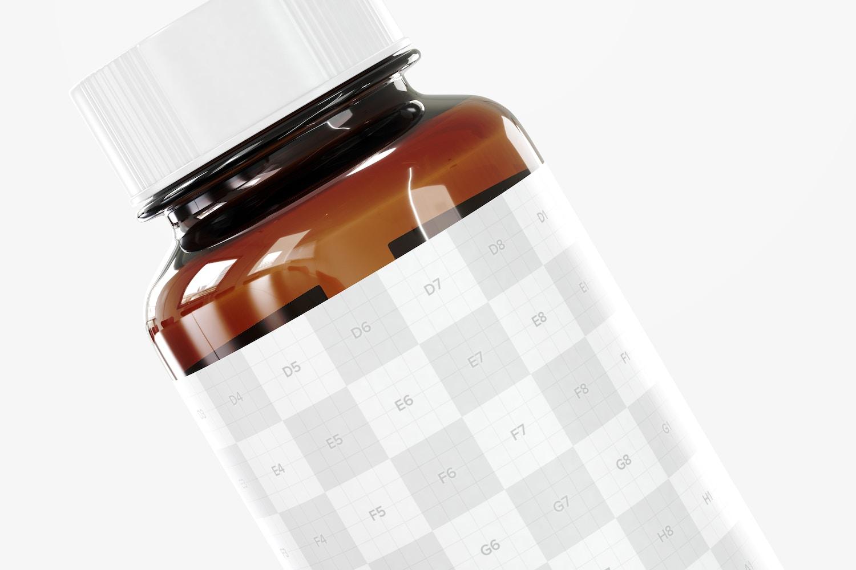 Amber Glass Pills Bottle Mockup, Right View