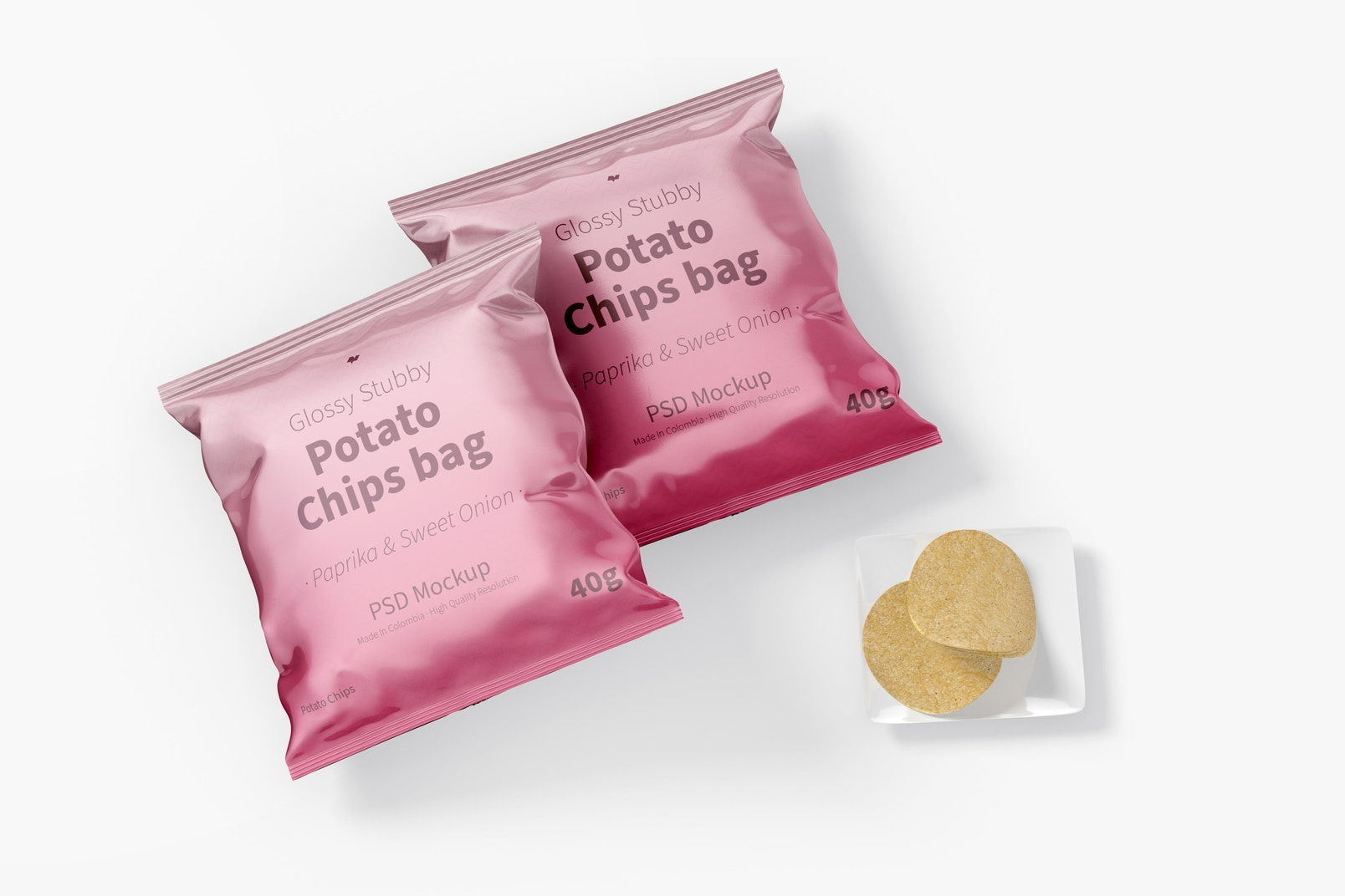 Glossy Stubby Chips Bag Mockup, Top View