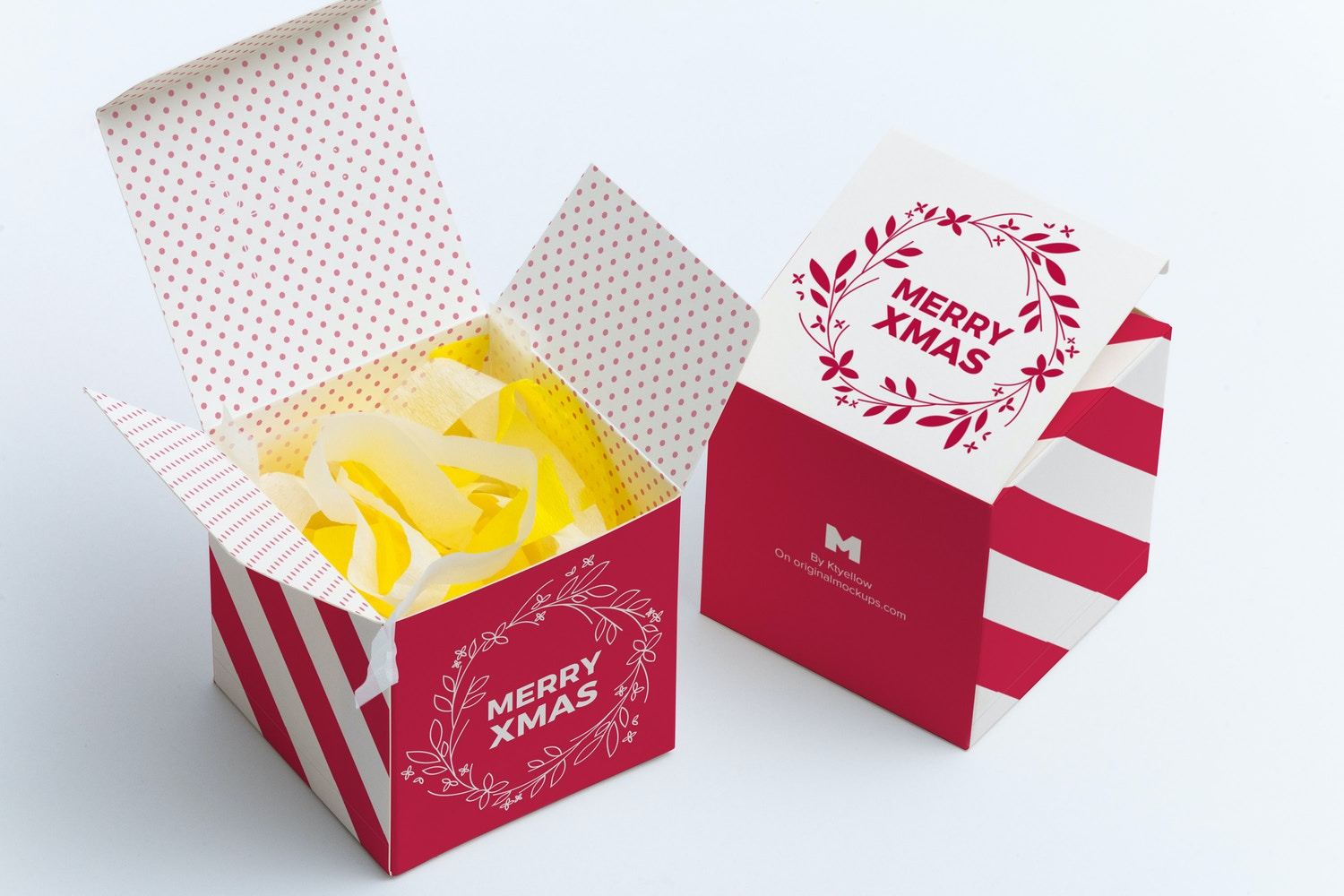 Soft Paper Cube Gift Box Mockup 01 by Ktyellow  on Original Mockups