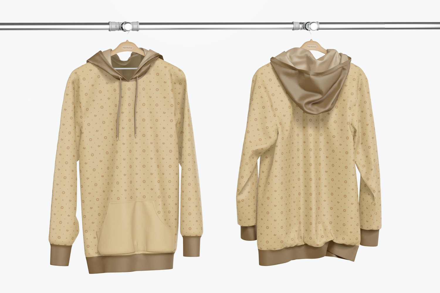 Hanging Hoodie Mockup, Front and Back