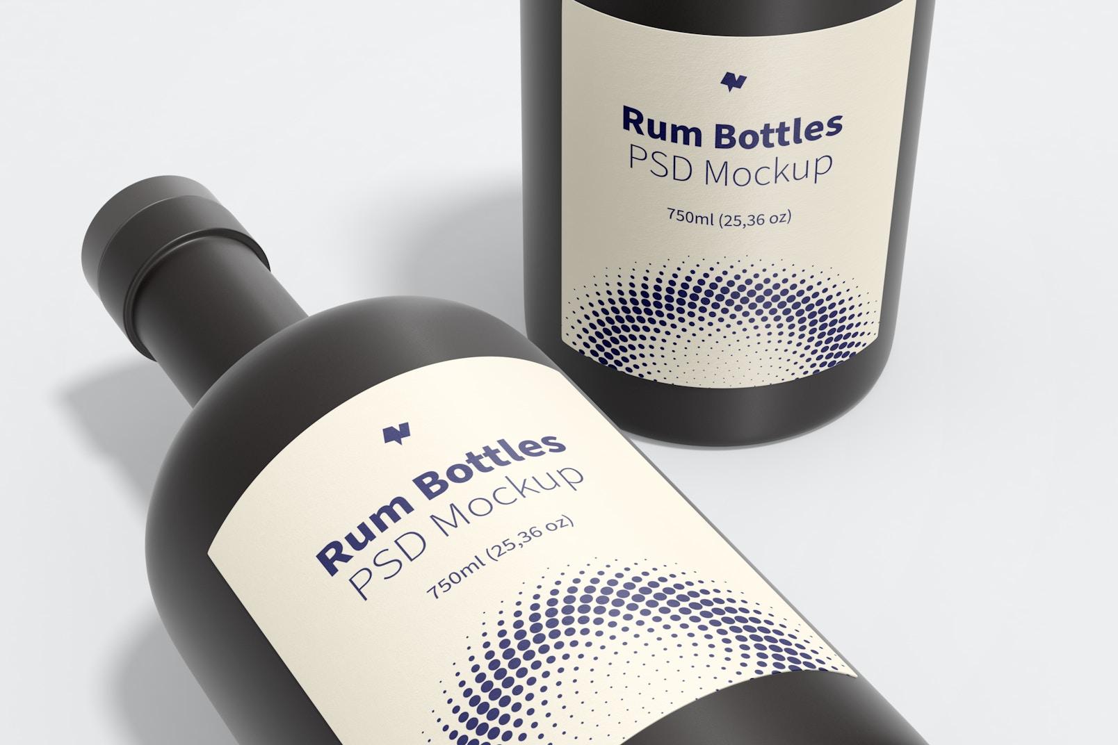 Rum Bottles Mockup, Close-Up