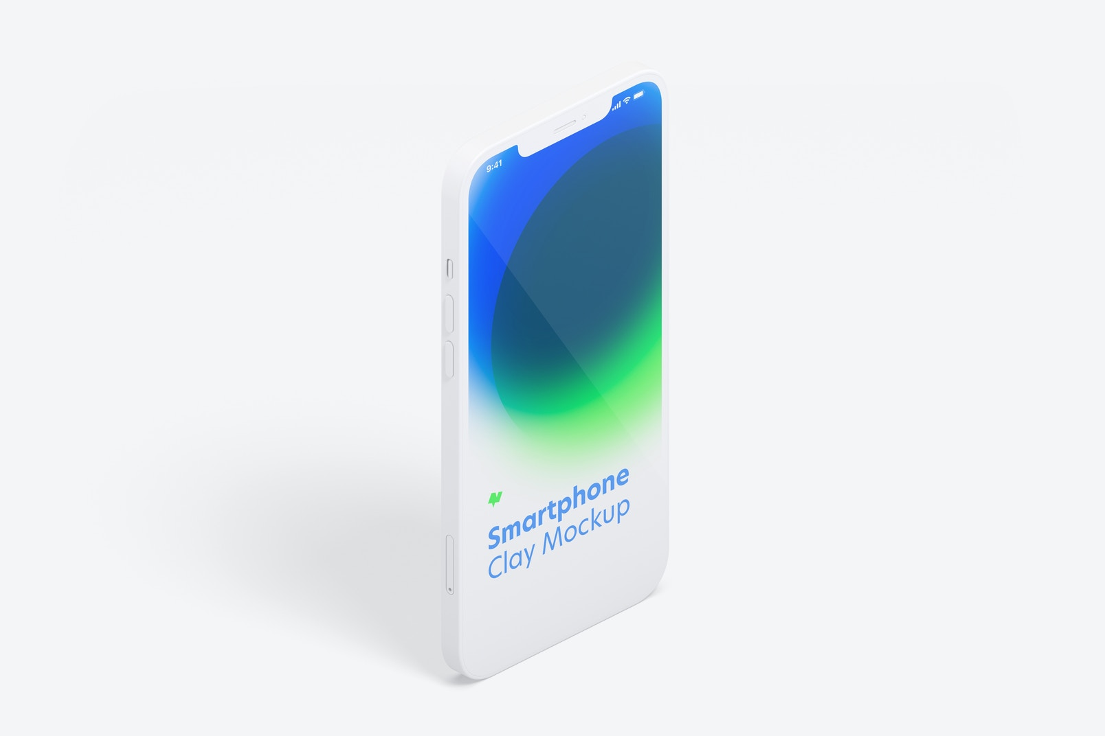 Isometric Clay iPhone 12 Mockup, Portrait Right View