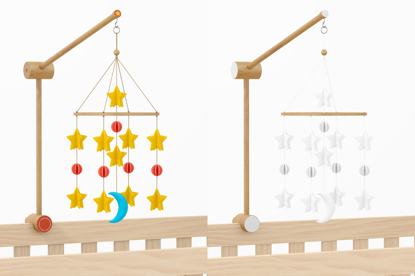 Baby Crib Mobile Mockup, Front View
