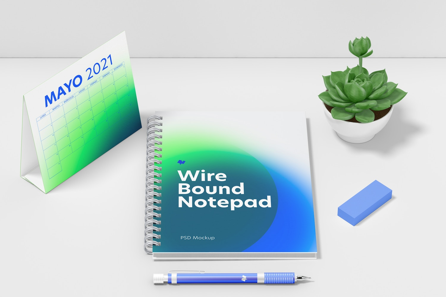 Wire Bound Notepad Scene Mockup, Top View