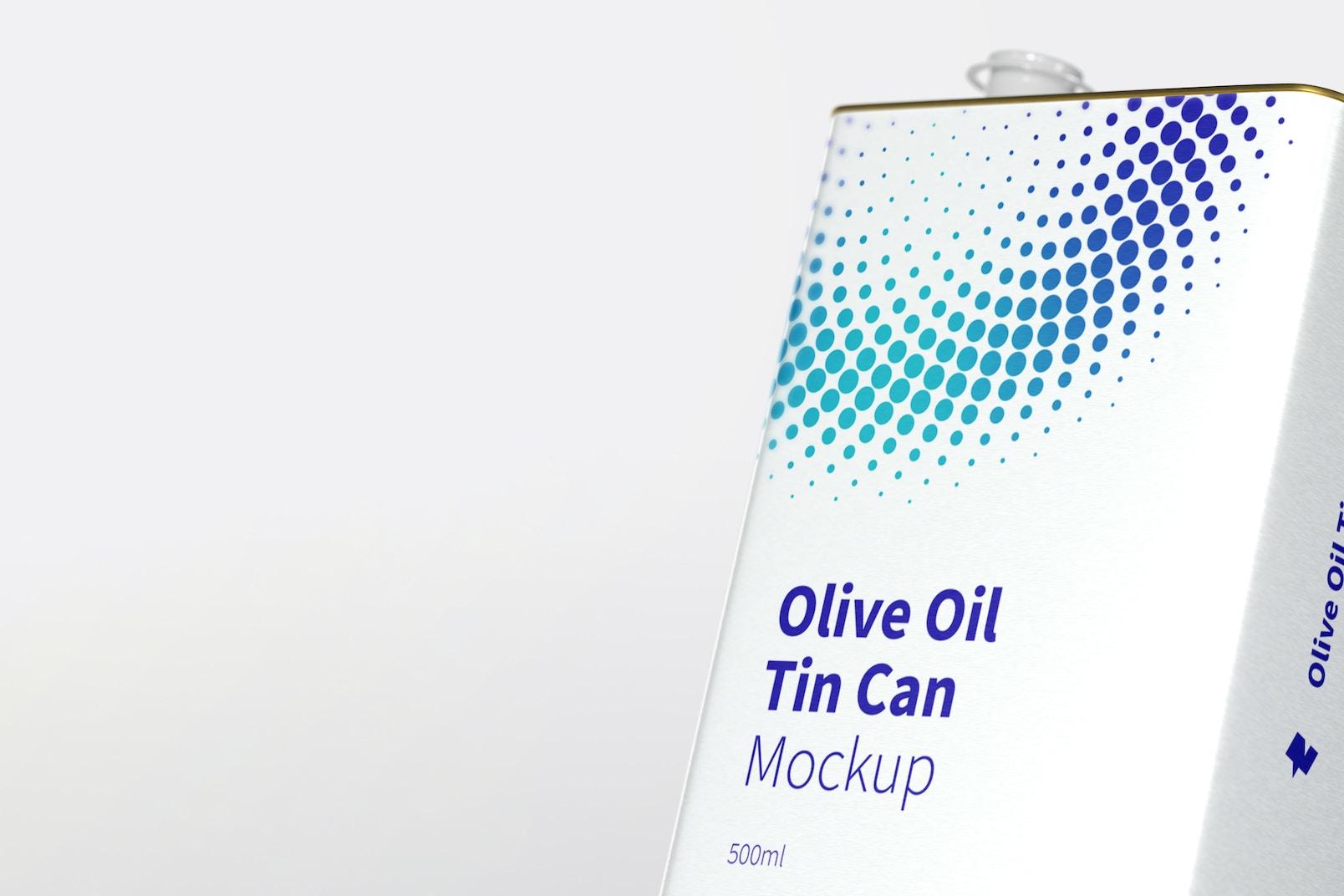 500ml Olive Oil Rectangular Tin Can Mockup, Close-Up