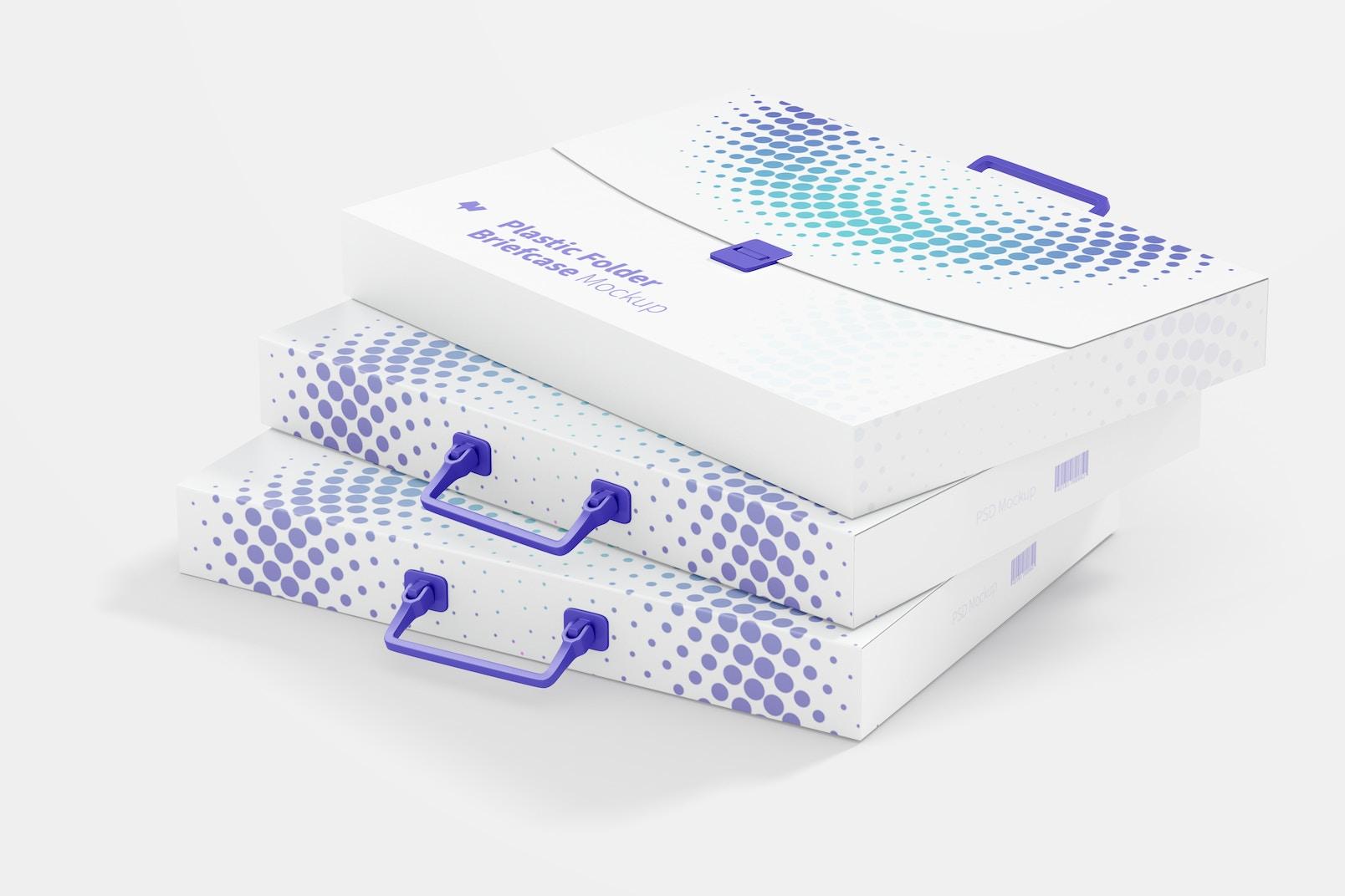 Plastic Folder Briefcases Mockup, Stacked Set
