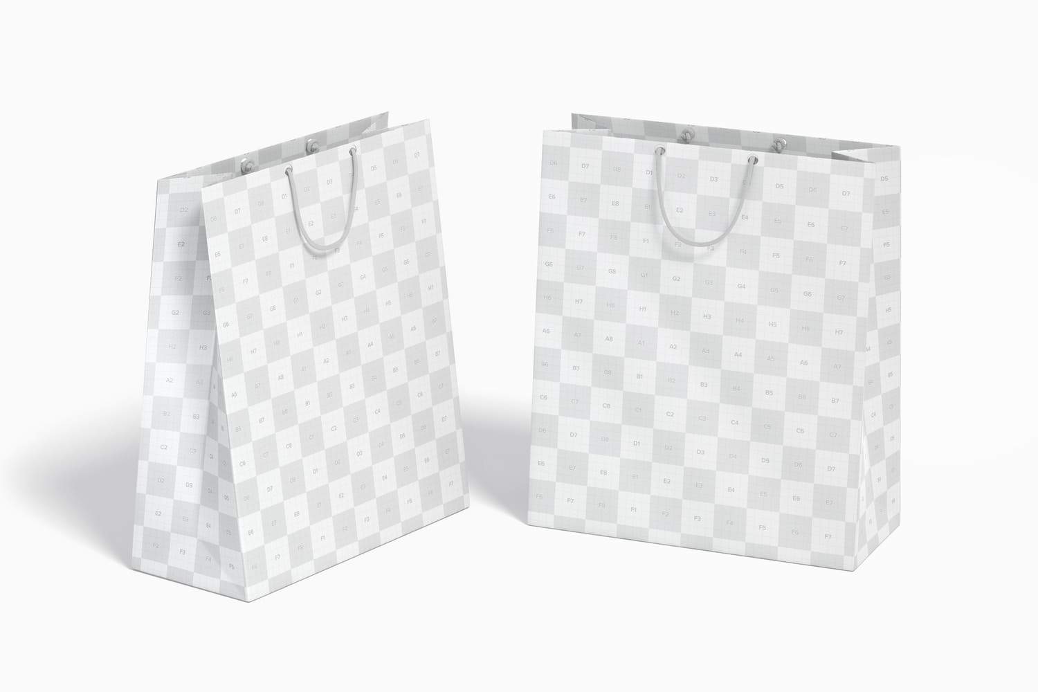 Big Paper Gift Bag With Rope Handle Mockup, Perspective View