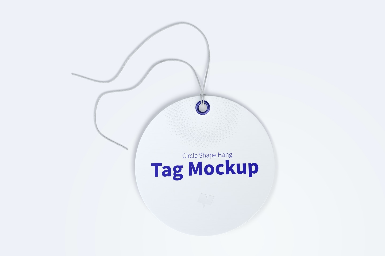Circle Shape Hang Tag Mockup with String