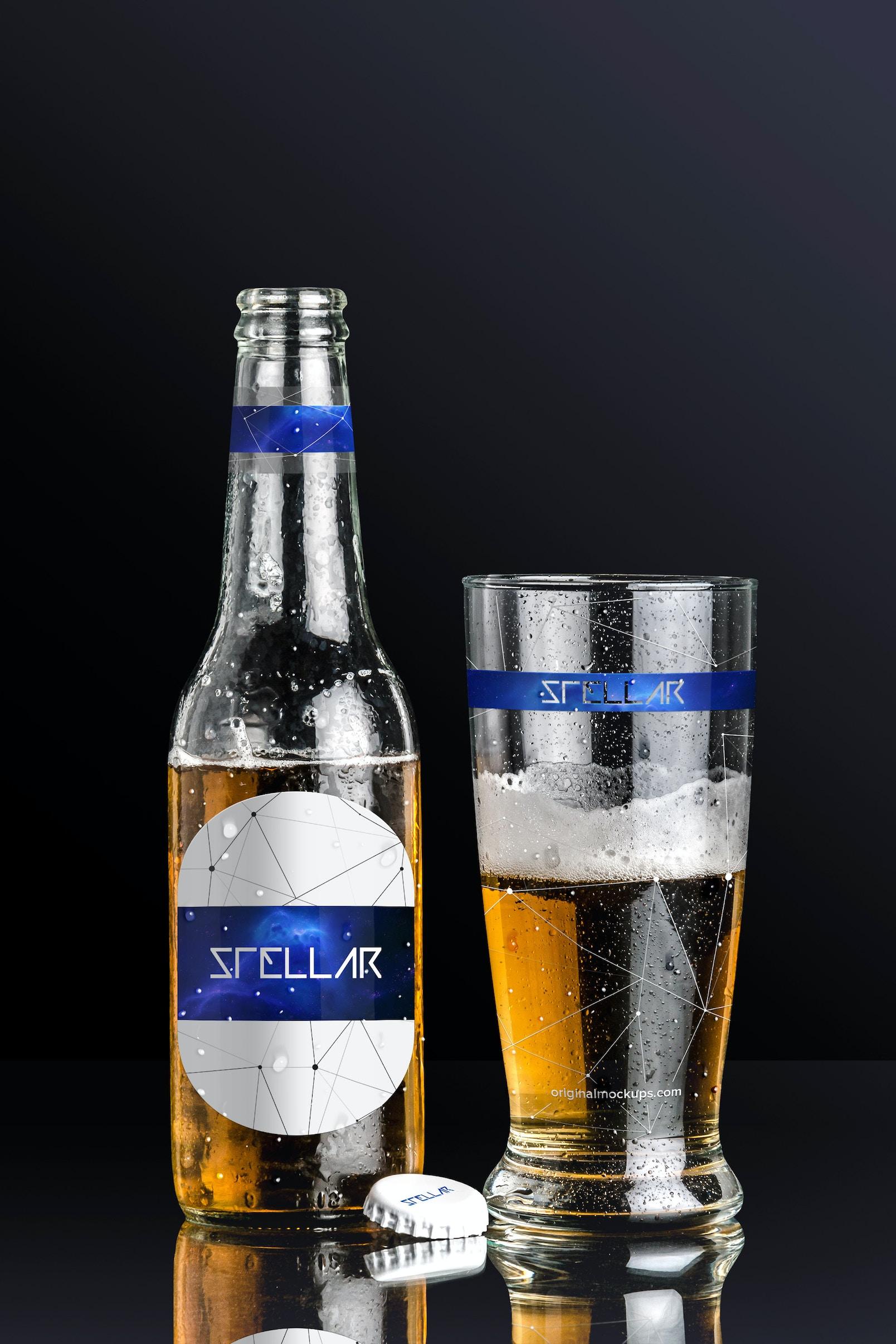 Beer Bottle and Glass Mockup 01