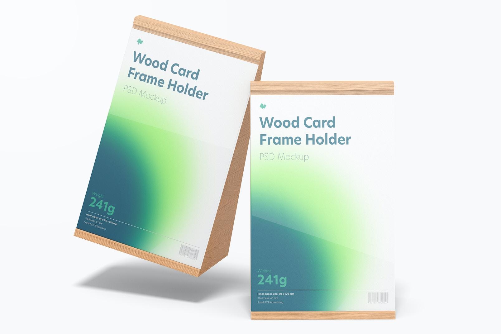 Wood Card Frame Holders Mockup, Falling