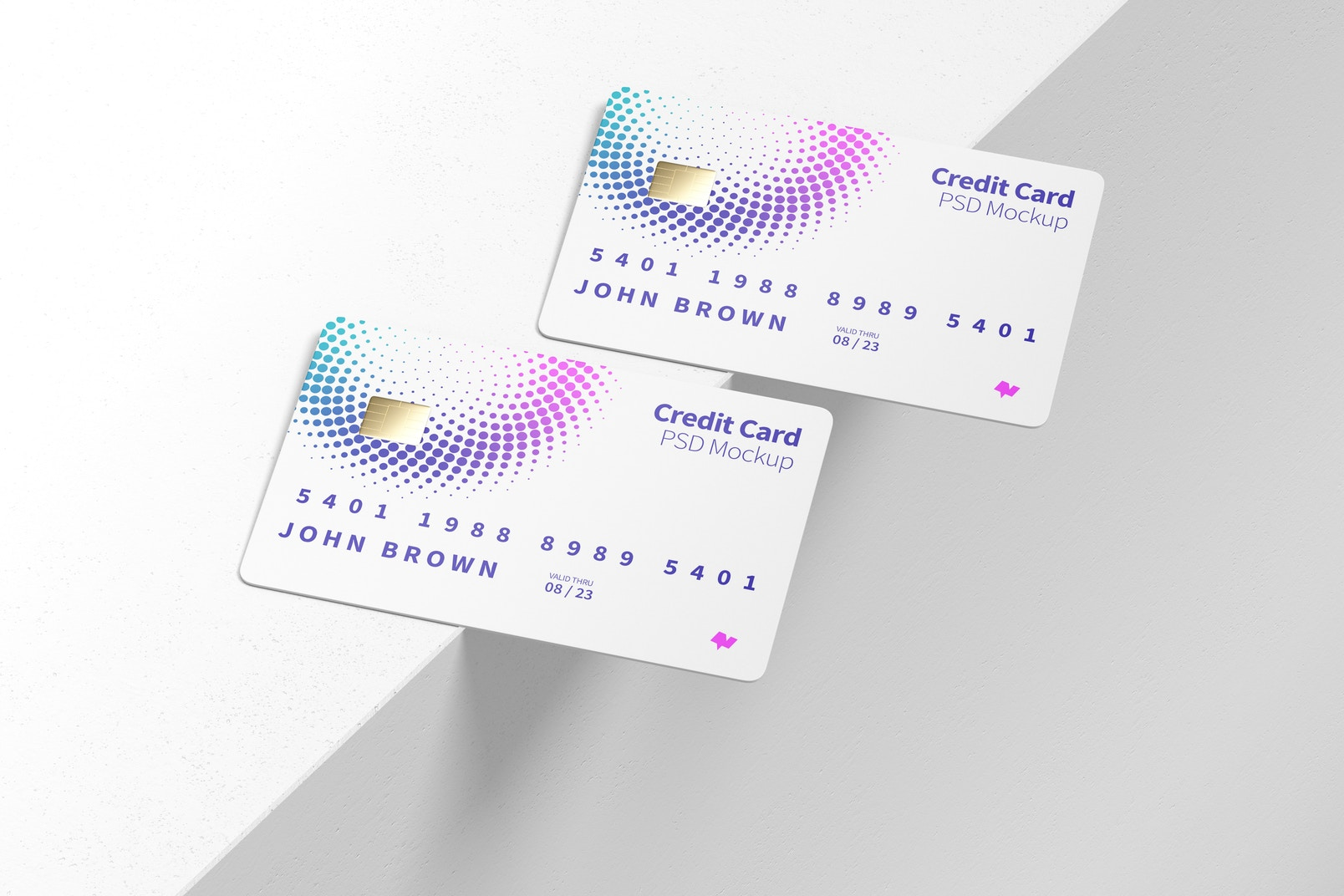 Credit Cards Mockup, Perspective View