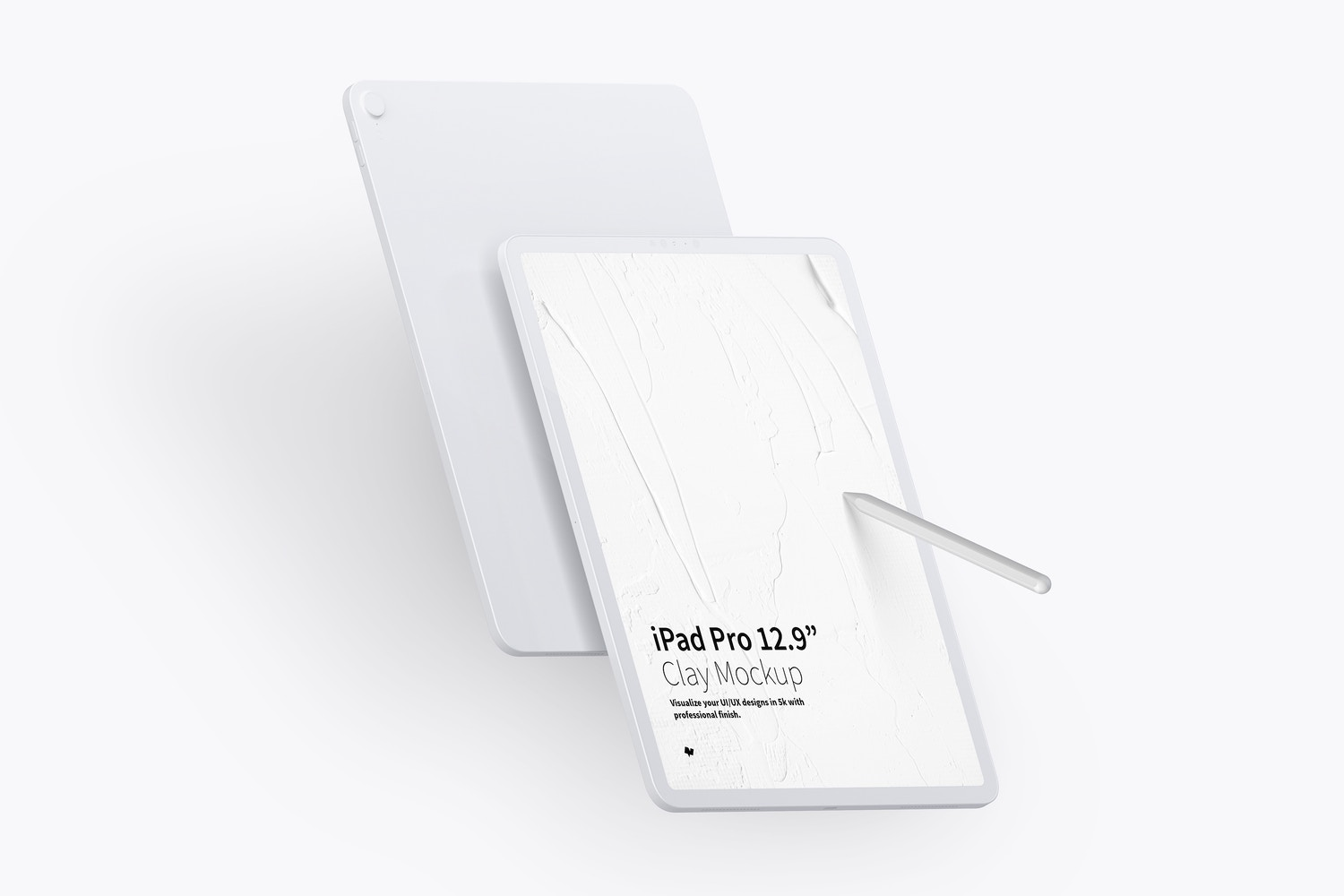 "Clay iPad Pro 12.9"" Mockup, Portrait Front and Back View by Original Mockups on Original Mockups"