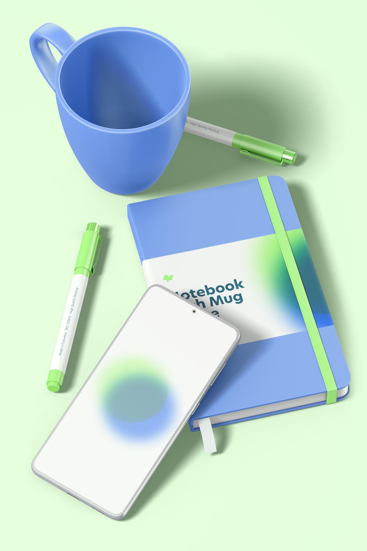 Notebook with Mug Scene Mockup, Top View